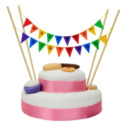 Cake Topper Bunting 'Happy 70th Birthday' Small Multi-coloured Flags