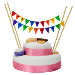 Cake Topper Bunting 'Happy 80th Birthday' Small Multi-coloured Flags