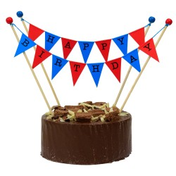 Cake Topper Bunting 'Happy Birthday' Large Blue and Red Flags