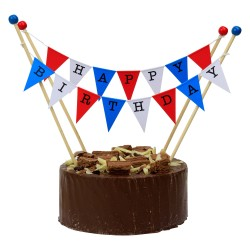 Cake Topper Bunting 'Happy Birthday' Large Red, White and Blue Flags