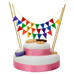 Cake Topper Bunting 'Happy Birthday Mum' Small Multi-coloured Flags
