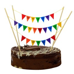 Cake Topper Bunting 'Happy Birthday Dad' Small Multi-coloured Flags