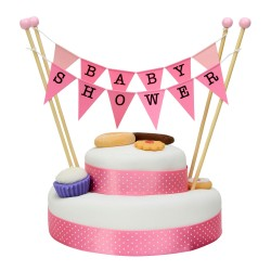 Cake Topper Bunting 'Baby Shower' Large Pink Flags