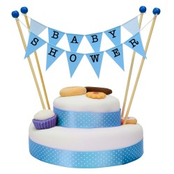 Cake Topper Bunting 'Baby Shower' Large Blue Flags