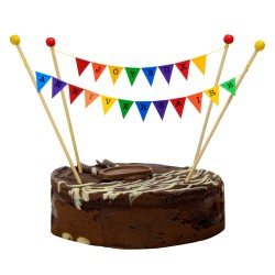 Cake Topper Bunting 'Joyeux Anniversaire' Small Multi-coloured flags