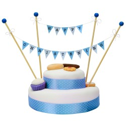 Cake Topper Bunting 'Happy Christening' Small Blue Flags