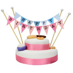 Cake Topper Bunting 'Happy Birthday' Large Blue and Pink Flags