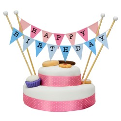 Cake Topper 'Happy Birthday' Large Pink and Blue Flags