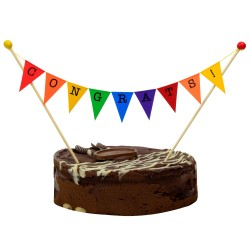 Cake Topper Bunting 'Congrats!' Large Multi-coloured Flags
