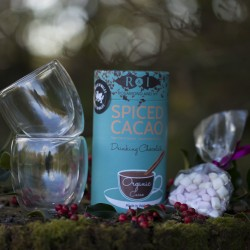 Luxury Sugar Free Spiced Drinking Chocolate, 2 Double Walled Hot Drinks Glasses & Vegan Mallows Hot Chocolate Gift