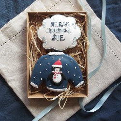 Personalised Penguin Christmas Jumper Biscuit Gift Box