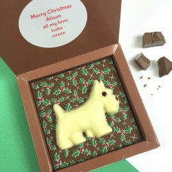 Christmas Scottie Dog Chocolate with Personalised Message