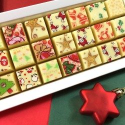 Christmas Mosaic Chocolates in White Chocolate