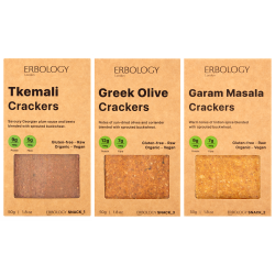 Organic Crackers Selection (Tkemali, Garam Masala and Greek Olives)