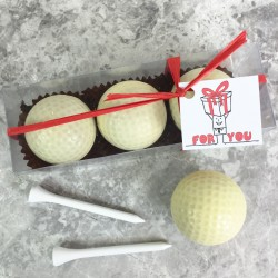 Three Chocolate Golf Balls In a Gift Box