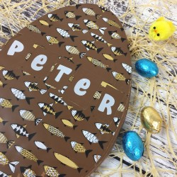 Large Personalised Milk Chocolate Easter Egg with Fish Design