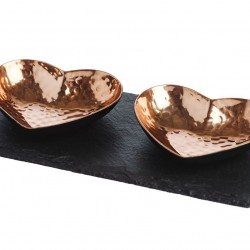 2 Copper Heart Serving dishes on a Slate Base
