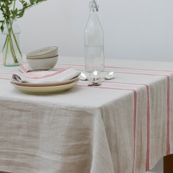 French Country Red Stripe Tablecloth