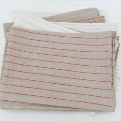 Natural Red Wide Stripe Linen Tea Towel