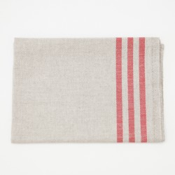 True Linen French Torchon Red Stripes