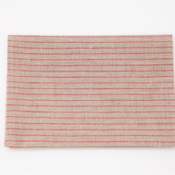 Natural Red Slim Stripe Linen Tea Towel