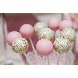 Pink and Glittery Cake Pops (Set of 10)