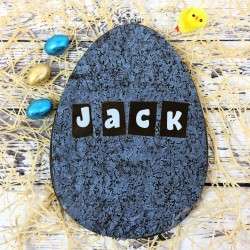 Large Personalised Dark Chocolate Easter Egg with Granite Design