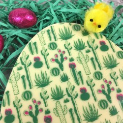 Large Chocolate Easter Egg in White Chocolate with Cactus Design