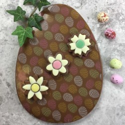 Large Milk Chocolate Egg with Chocolate Flowers