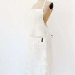 Washed Linen Long Stripe Apron