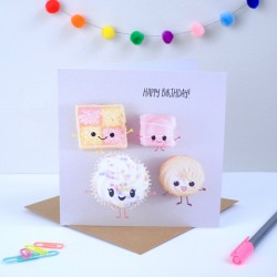Cute Cakes Birthday Card