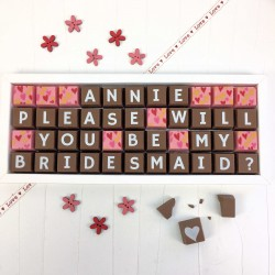 Personalised 'Please Will You Be My Bridesmaid' Chocolates