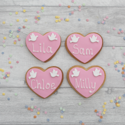 Heart shaped wedding favours with dove details