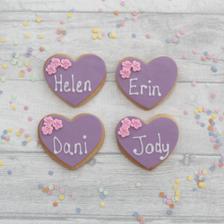 Lilac wedding favour cookies with flower details