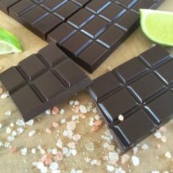 Raw Chocolate Bars with Lime & Pink Himalayan Salt