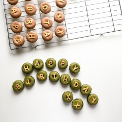 Vegan, Gluten-Free Happy Birthday Mini Donuts
