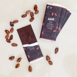 80% Cacao Raw THIN Chocolate Bars - Organic, Fairtrade