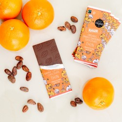 Raw Orange THIN Chocolate Bars - Organic, Fairtrade (5 bars)