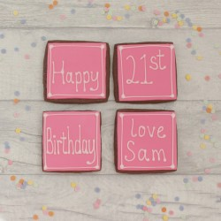 Personalised birthday cookie gift and card combined