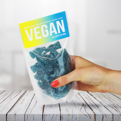Vegan Blue Raspberry Bottles Gummy Sweets Pouches