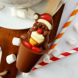Set of 3 Praline Santa Christmas Hot Chocolate Spoons