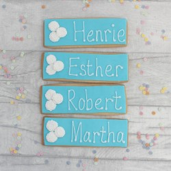 Edible Wedding Name Card Setting Biscuits With Flowers