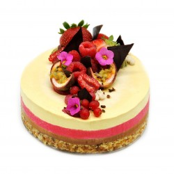 Raw Vegan Raspberry, Mango/Passion Fruit & Chocolate Cake