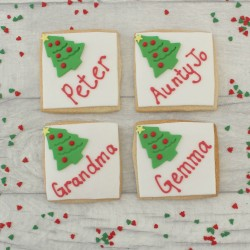 Christmas Tree Themed Place Setting Cookies
