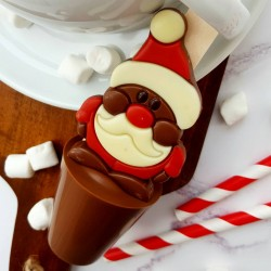 Set of 3 Santa Christmas Hot Chocolate Spoons