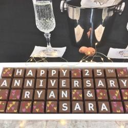cocoapod personalised 25th wedding anniversary chocolates
