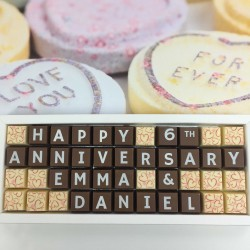 cocoapod personalised 6th anniversary sugar anniversary chocolates