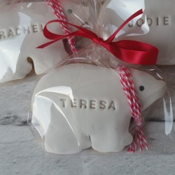 6 Personalised Polar Bear Cookies (Name tags, Place settings)