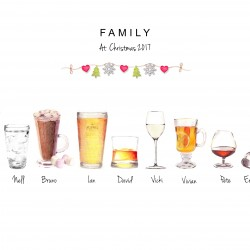 Christmas Personalised Illustrated Family Drinks Print
