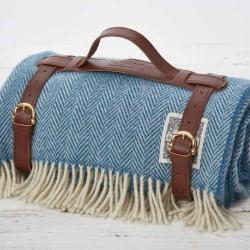 Luxury Wool Picnic Rug - Cornish Blue